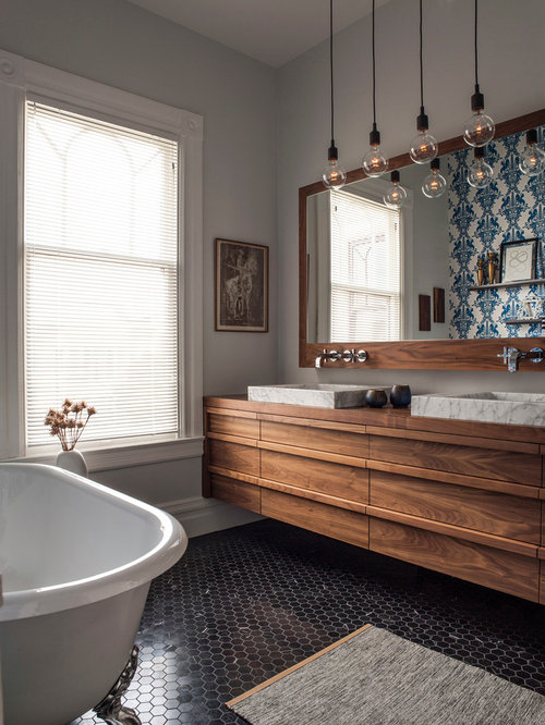 Inspiration For A Contemporary Mosaic Tile Floor And Black Floor Claw Foot  Bathtub Remodel In
