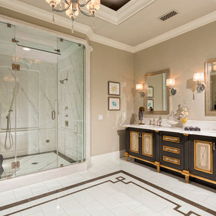 Tuscan white tile alcove shower photo in Los Angeles with an undermount sink, furniture-like cabinets, black cabinets and beige walls
