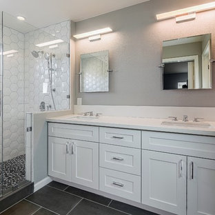 Double shower - mid-sized transitional master white tile and porcelain tile porcelain tile double shower idea in San Francisco with shaker cabinets, white cabinets, a two-piece toilet, gray walls, an undermount sink and quartz countertops