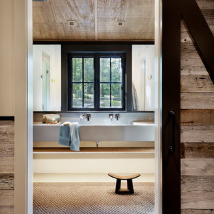 Inspiration for a medium sized rustic family bathroom in Seattle with engineered stone worktops.