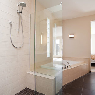 Design ideas for a medium sized contemporary ensuite bathroom in Denver with a corner bath, a walk-in shower, beige tiles, ceramic tiles, beige walls, ceramic flooring and an open shower.