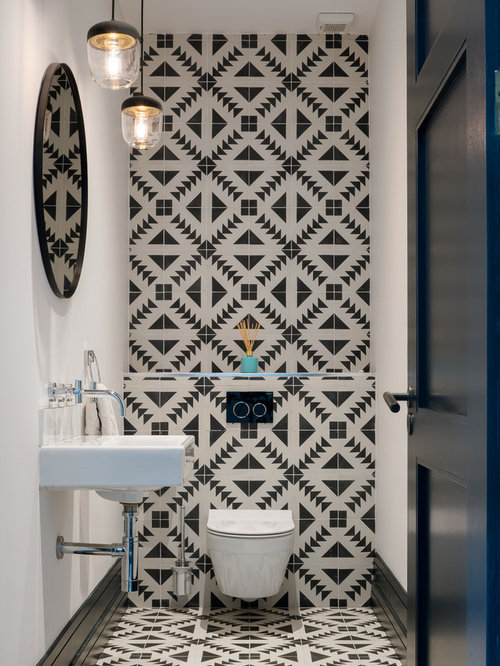 Small Trendy Black And White Tile Multicolored Floor Bathroom Photo In  Dublin With A Wall