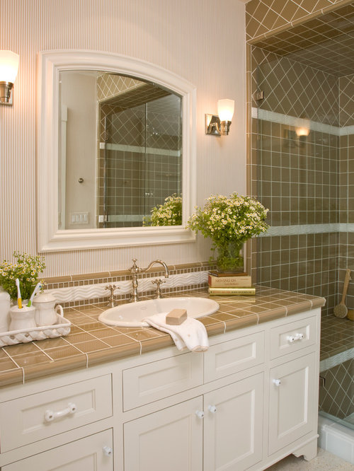 Ceramic tile countertop houzz for Porcelain countertops cost