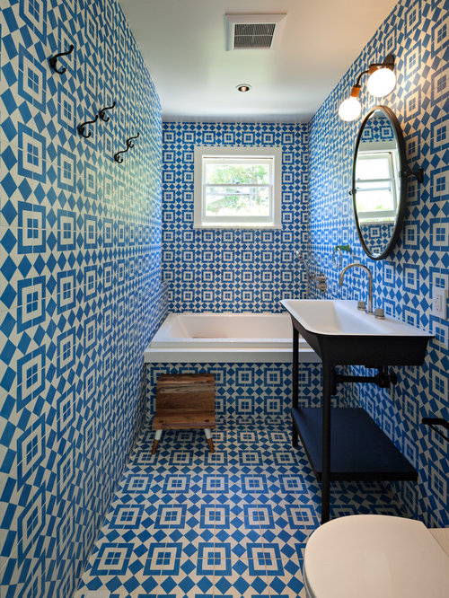Eclectic Bathroom Design Ideas Remodels Photos With Blue Walls