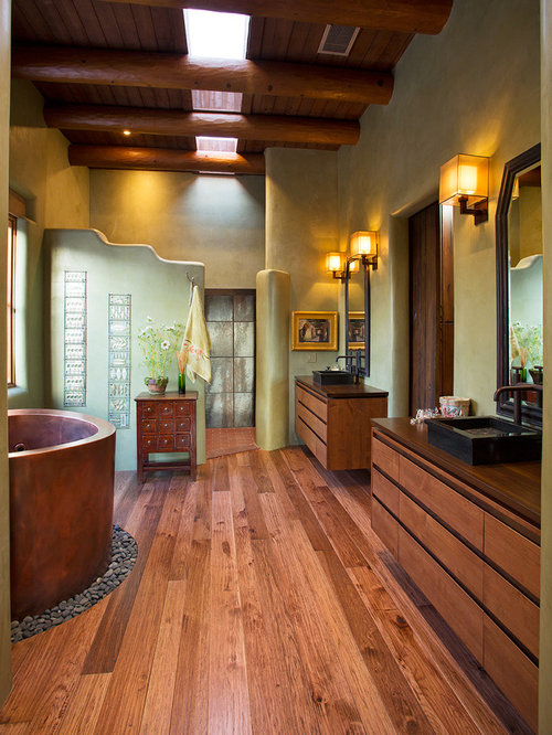 Modern Master Bathroom With Hardwood Floors Rosabella Standing Bath Tub