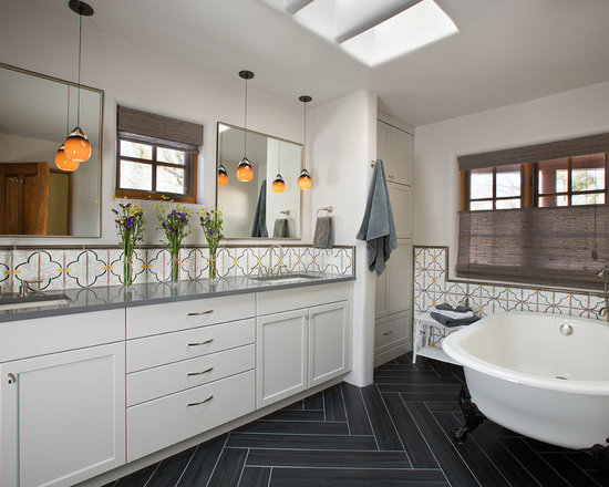 dark tile floor | houzz