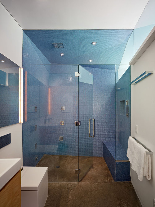 example of a minimalist blue tile and mosaic tile brown floor walk in shower design