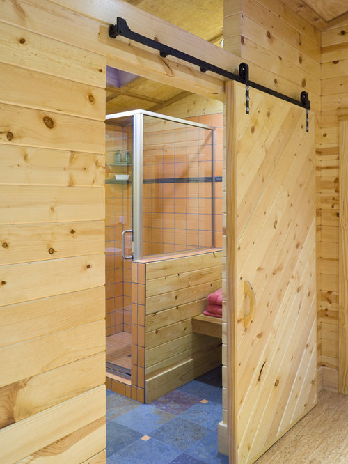 Bathroom barn door houzz Bath barn