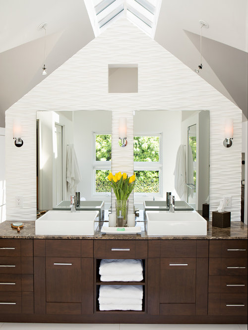 Large Transitional Bathroom Photo In Los Angeles With Dark Wood Cabinets