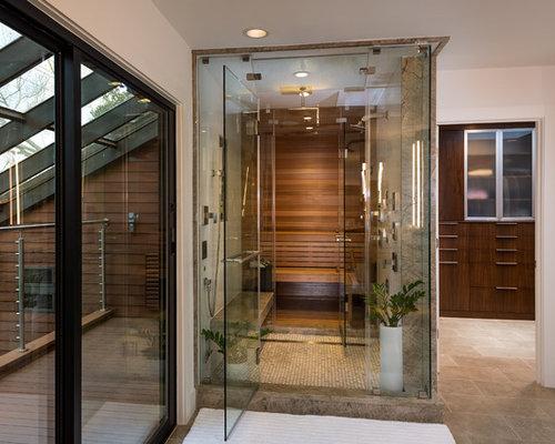 badezimmer mit steinplatten und sauna ideen design bilder houzz. Black Bedroom Furniture Sets. Home Design Ideas
