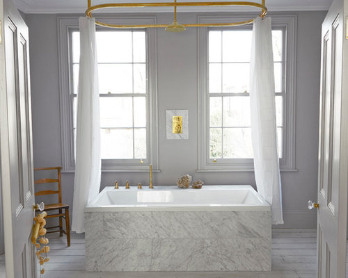 Photo Of A Scandinavian Bathroom In London With Drop Tub White Tile