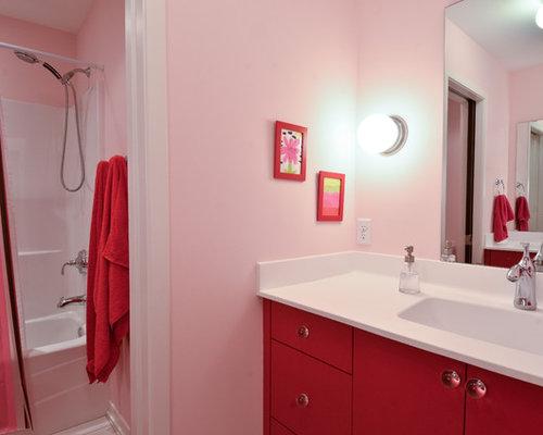 Vasca Da Bagno Rosa : Bagno con ante rosse e pareti rosa foto idee arredamento