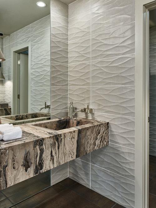 Medium sized 3d wall tile bathroom design ideas for Mid size bathroom ideas
