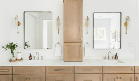 10 Bathrooms With White-and-Wood Double Vanities