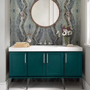 Bathroom With Turquoise Cabinets