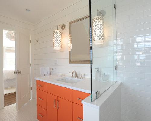 Piastrelle bagno arancione idee creative di interni e mobili - Finto mosaico bagno ...