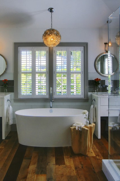 Transitional Bathroom by Shelter 7