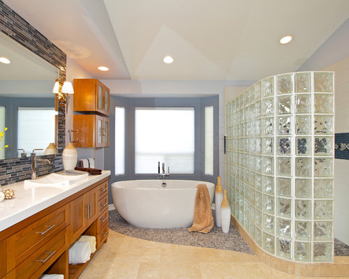 Inspiration For A Contemporary Bathroom Remodel In San Diego With Mosaic  Tile, A Drop