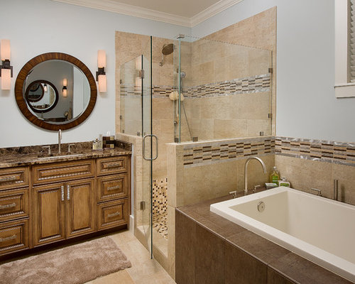 Brown granite countertops home design ideas pictures remodel and decor Beige brown bathroom design