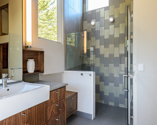 Example Of A 1960s Gray Tile Walk In Shower Design In San Francisco With A