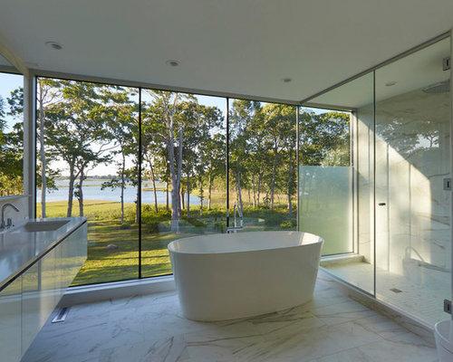 Inspiration For A Modern Master Beige Tile, Brown Tile And White Tile  Multicolored Floor Bathroom