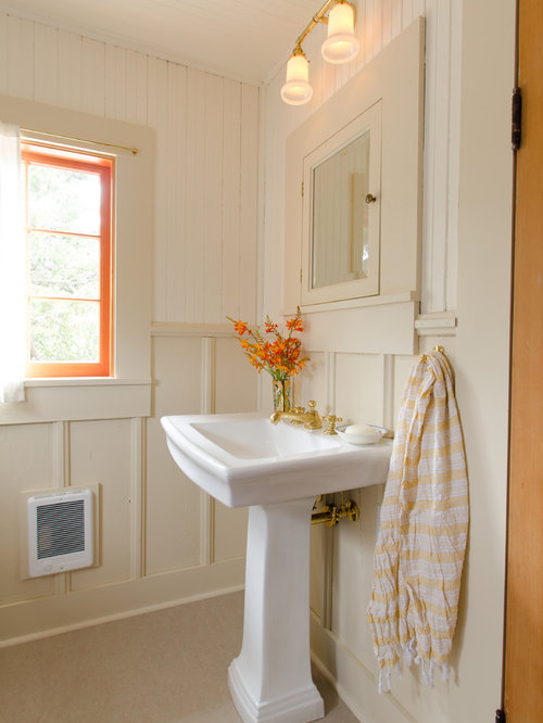 small cottage bathrooms. Inspiration for a beach style bathroom remodel in Portland with pedestal  sink Small Cottage Bathroom Houzz