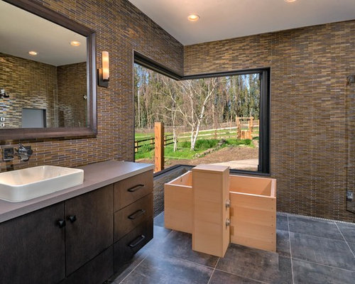 Large Country Master Multicolored Tile And Glass Tile Ceramic Floor And  Gray Floor Bathroom Photo In