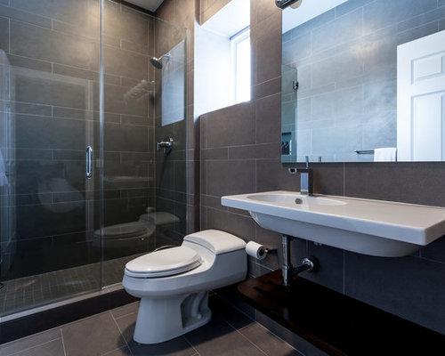 Salle d\'eau moderne avec un sol en ardoise : Photos et idées déco ...