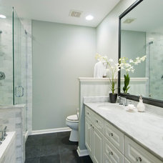 Transitional Bathroom by Elizabeth Taich Design