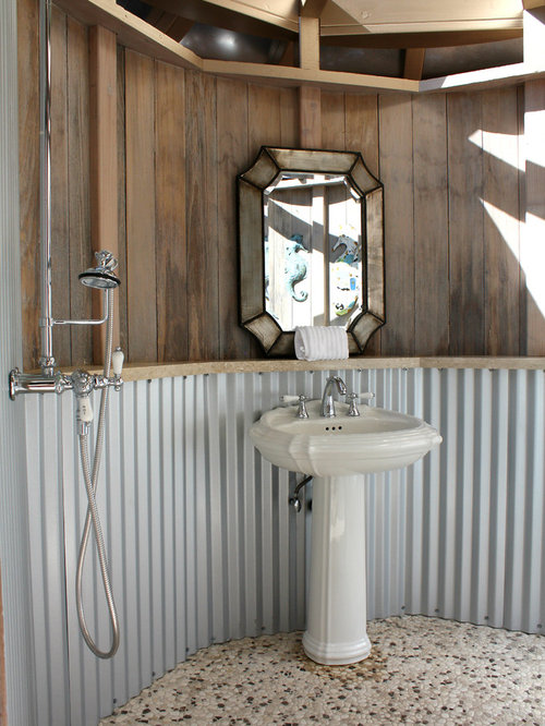 Corrugated metal wainscoting houzz for Metal wainscoting ideas