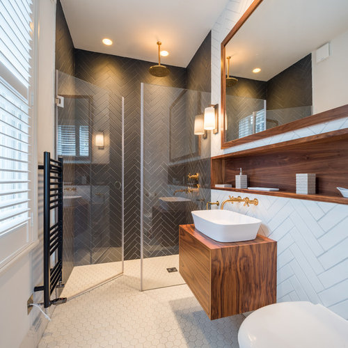 Inspiration For A Medium Sized Contemporary Bathroom In London With  Flat Panel Cabinets, Brown