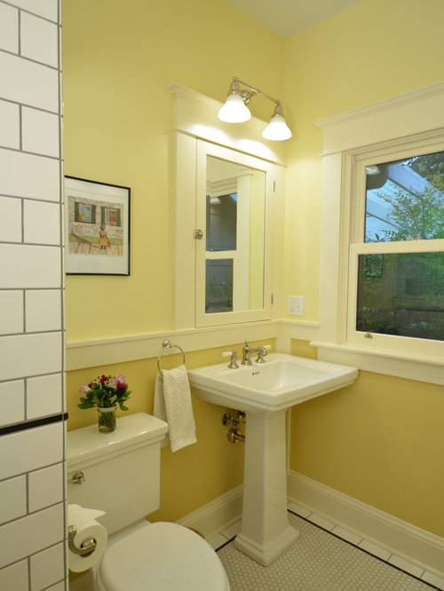 Best Yellow Bathroom with Black and White Tile Design Ideas & Remodel Pictures   Houzz