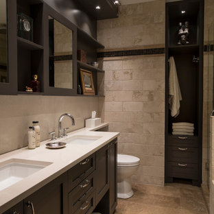 Transitional beige tile beige floor bathroom photo in Chicago with recessed-panel cabinets, gray cabinets, gray walls, an undermount sink and beige countertops