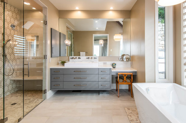 Midcentury Bathroom by Living Stone Design + Build