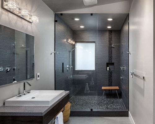 Salle de bain moderne avec une douche double photos et - Salle de bain ultra moderne ...