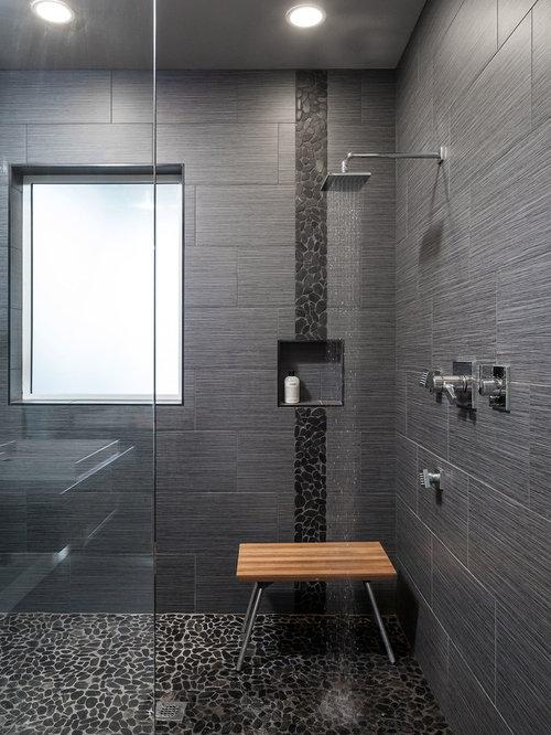 Moderne badezimmer mit kiesel bodenfliesen design ideen for Badezimmer japan