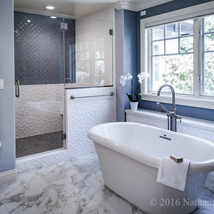 Bathroom - large transitional master blue tile and glass tile marble floor bathroom idea in San Francisco with blue walls, shaker cabinets, white cabinets, a two-piece toilet, an integrated sink and solid surface countertops