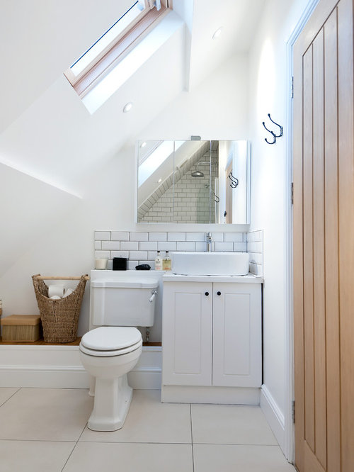 bathroom wastebasket. Inspiration for a farmhouse white tile and subway bathroom remodel in  London with vessel Bathroom Waste Basket Houzz