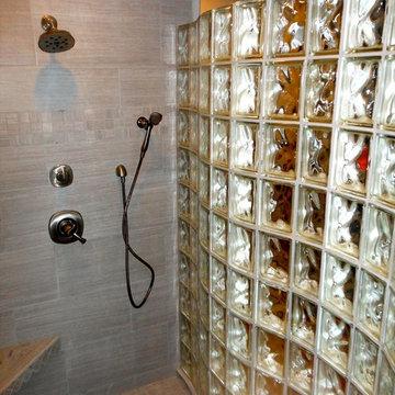 Serpentine glass block shower wall in Rapid City South Dakota