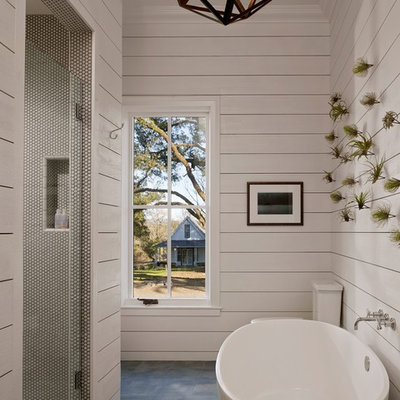 Country white tile bathroom photo in San Francisco with white walls