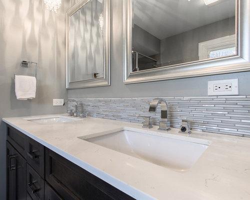 Salle de bain romantique avec un carrelage gris photos et id es d co de salles de bain - Carrelage salle de bain romantique ...