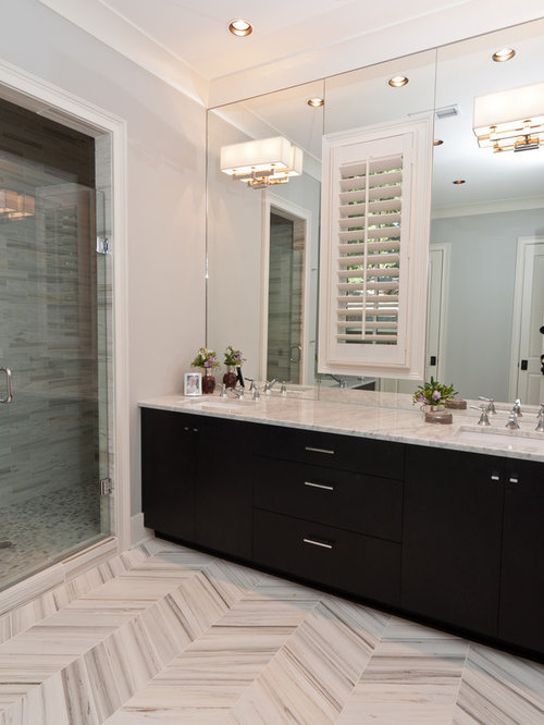 Gray herringbone tile floor houzz for Houzz com bathroom tile