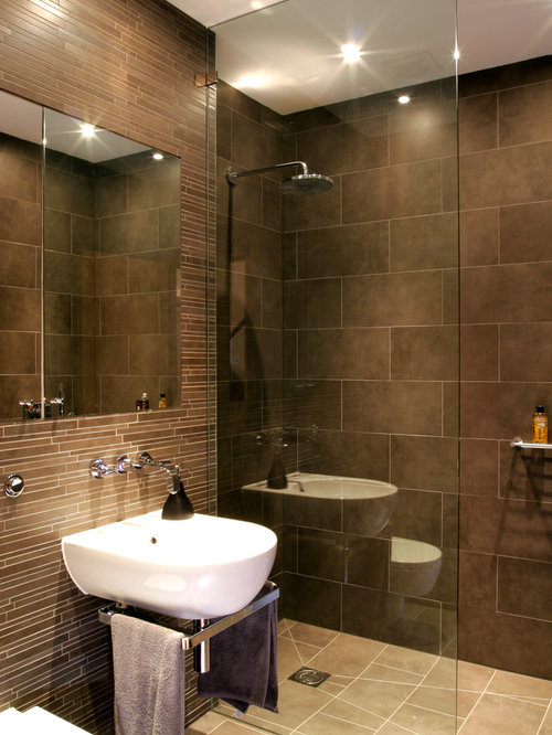 contemporary 34 brown tile and matchstick tile corner shower idea in london with a - Matchstick Tile Bathroom Ideas