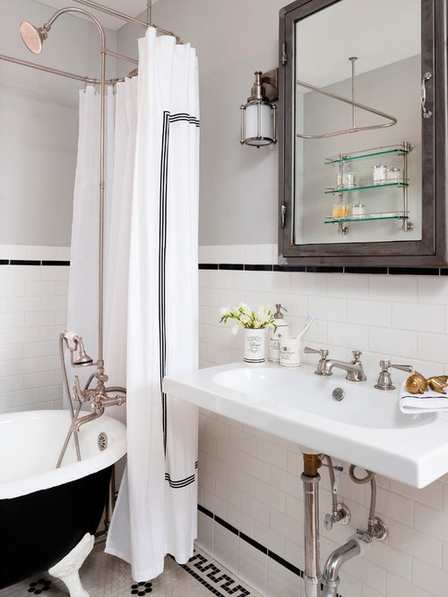 Small Eclectic Porcelain Tile And Black And White Tile Mosaic Tile Floor  Bathroom Photo In DC