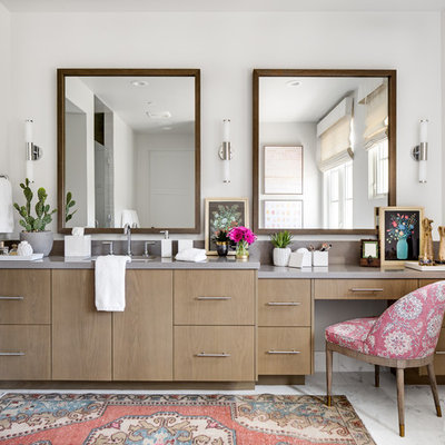 Example of a mid-sized transitional master marble floor and white floor bathroom design in Orange County with flat-panel cabinets, medium tone wood cabinets, gray walls, an undermount sink, quartz countertops and gray countertops