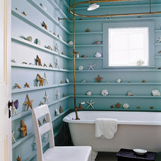 Tropical Bathroom shells on bathroom shelves