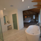 6 Foot Tub in Window Alcove & Glass Tile Inlaid Floors & Shower Bench Seat - Bathroom - Orange ...