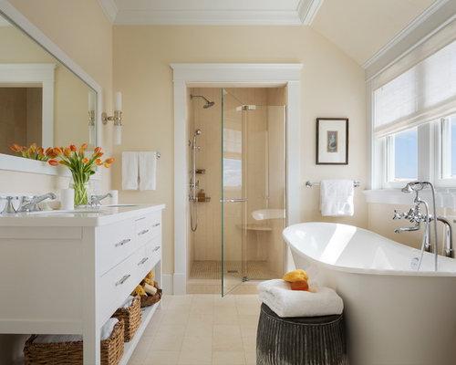 Example Of A Mid Sized Coastal Master Beige Tile Limestone Floor And Beige  Floor Bathroom
