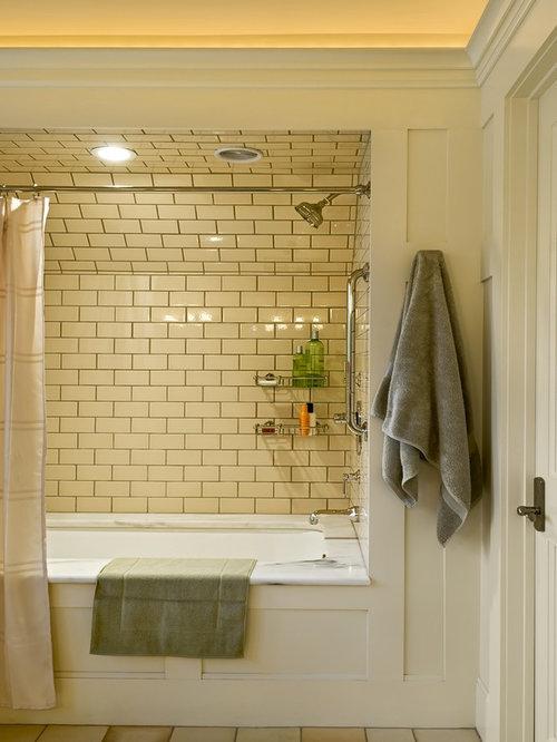 Beige subway tile bathroom