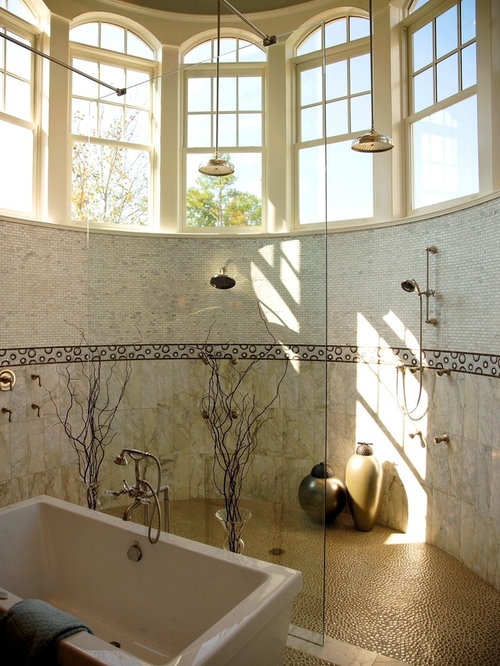 River rock floor home design ideas pictures remodel and for River rock bathroom ideas
